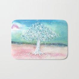 White Tree Illustration Art Bath Mat