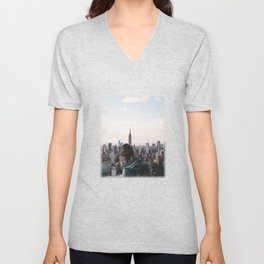 Above New York City-Skyline Views and Birds Unisex V-Neck