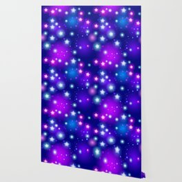 Milky Way Abstract pattern with neon stars on blue background Wallpaper