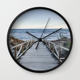 """""""Walking to the beach....."""" At sunset Wall Clock"""