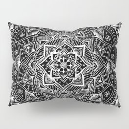 White Flower Mandala on Black Pillow Sham