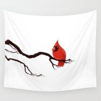 cardinal Wall Tapestries featuring Cardinal by David Lanham