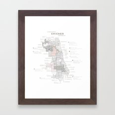 Chicago Neighborhoods Map Framed Art Print