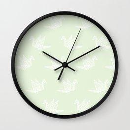Paper Crane Mint Green Wall Clock