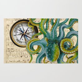 Octopus Compass Green Music Collage Rug