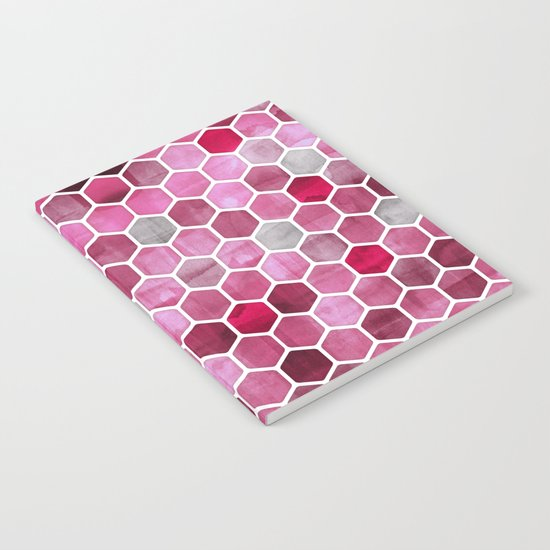 Pink Ink - watercolor hexagon pattern Notebook