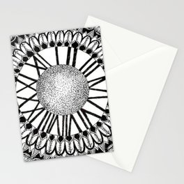 Time and Space Zoomed in Black, Grey, and White Mandala Stationery Cards