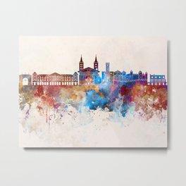 Aosta skyline in watercolor background Metal Print