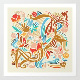 Abstract Florals Art Print