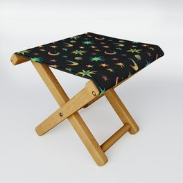 Colorful Watercolor Stars and Moons Pattern Folding Stool