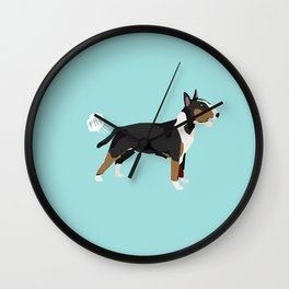 Bull Terrier tricolored dog breed funny dog fart Wall Clock