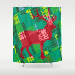 Merry Xmas Deer Pop Art Pattern Red and Green Shower Curtain