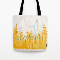 breathe Tote Bags featuring Breathe  by Hayley Lang
