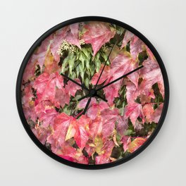 Red climbing ivy leaves Wall Clock