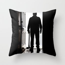 Bad Man at door in silhouette with axe Throw Pillow