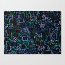 Batik Mosaic Fractal MixBlue Canvas Print