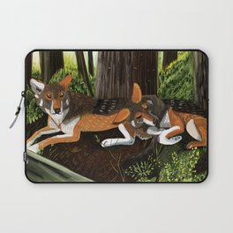Totem Red Wolf in the forest Laptop Sleeve