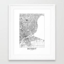 Detroit White Map Framed Art Print
