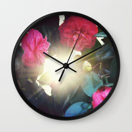 Red Rose Sunset Wall Clock