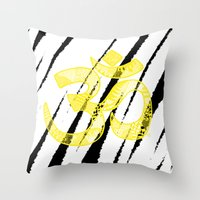 om Throw Pillows featuring OM by Rebecca Bear