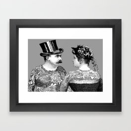 Tattooed Victorian Lovers Framed Art Print