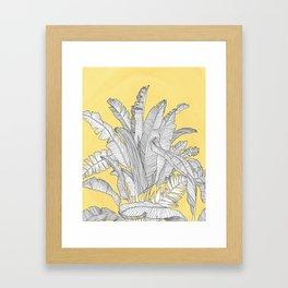 Banana Leaves Illustration - Yellow Framed Art Print