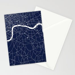 Navy on White London Street Map Stationery Cards