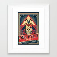 cartoon Framed Art Prints featuring One-eyed Pirate by Victor Beuren