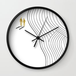 Abstract geometric landscape, beach, sun and people strolling Wall Clock