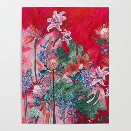Ruby Red Floral Jungle Poster