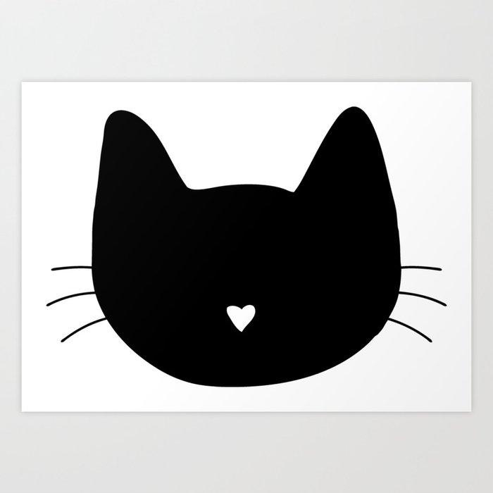 Cat Heart Nose Art Print