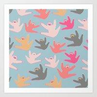 sloths Art Prints featuring Cute sloths pattern by Darish