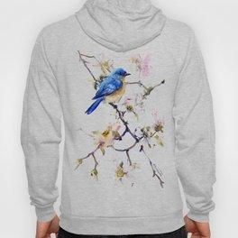 Bluebird and Dogwood, bird and flowers spring colors spring bird songbird design Hoody