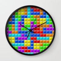 tetris Wall Clocks featuring Tetris by Rebekhaart