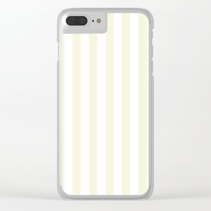 Narrow Vertical Stripes - White and Beige Clear iPhone Case