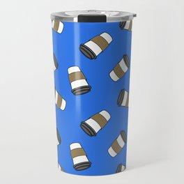 ditsy coffee on blue Travel Mug