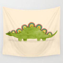Rainbow colored dinosaur (stegosaurus) Wall Tapestry