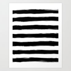 Black Paint Strokes Stripes Art Print