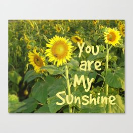 Sunflower Art // You are My Sunshine, Art with Bees Canvas Print