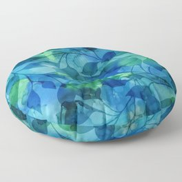 Alcohol Ink Leaves Floor Pillow