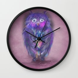 Insomnia. Purple owl with hot chocolate. Wall Clock