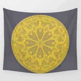 Ultimate Gray and Illuminating Yellow Rose Window Wall Tapestry