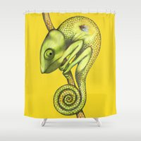chameleon Shower Curtains featuring chameleon by Federico Cortese