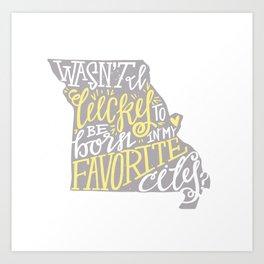 Meet Me In St. Louis - Yellow & Gray Art Print