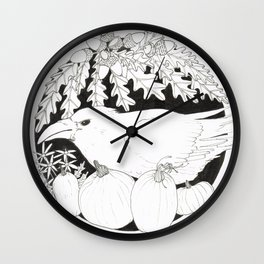Crow with Pumpkins and Oak Wall Clock