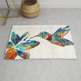 Colorful Hummingbird Art by Sharon Cummings Rug