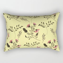 Rose Hummingbirds and Pink Flowers in Butter Yellow Floral Pattern with Pink Flowers and Bark Brown Rectangular Pillow