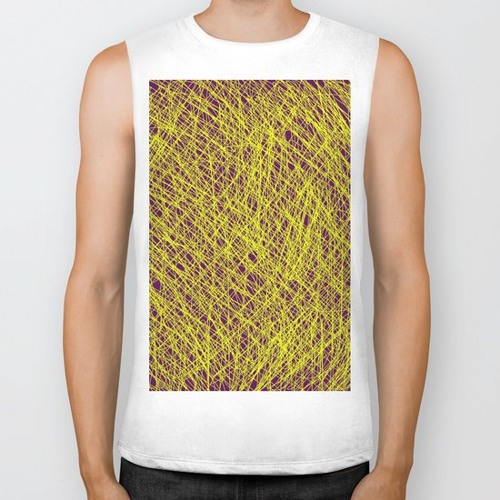 Expressive Yellow (Abstract, purple and yellow) Biker Tank