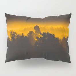 Sunrise behind foggy trees Pillow Sham