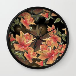 Yellow roses . Imitation glass .3D/ Wall Clock